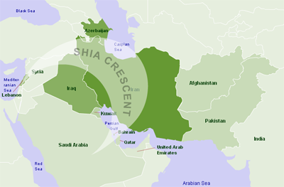middle east map shia crescent